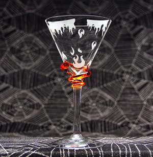 Flaming Martini Glass