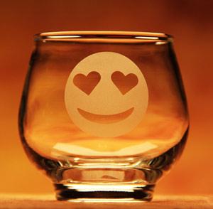 Heartfelt Eyes Emoji Glass