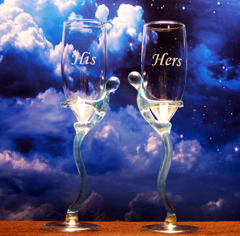 His n Hers Champagne Glasses