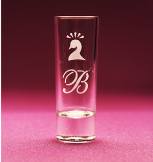 Monogram Peacock Shot Glass