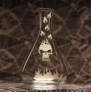Flaming Skull Flask