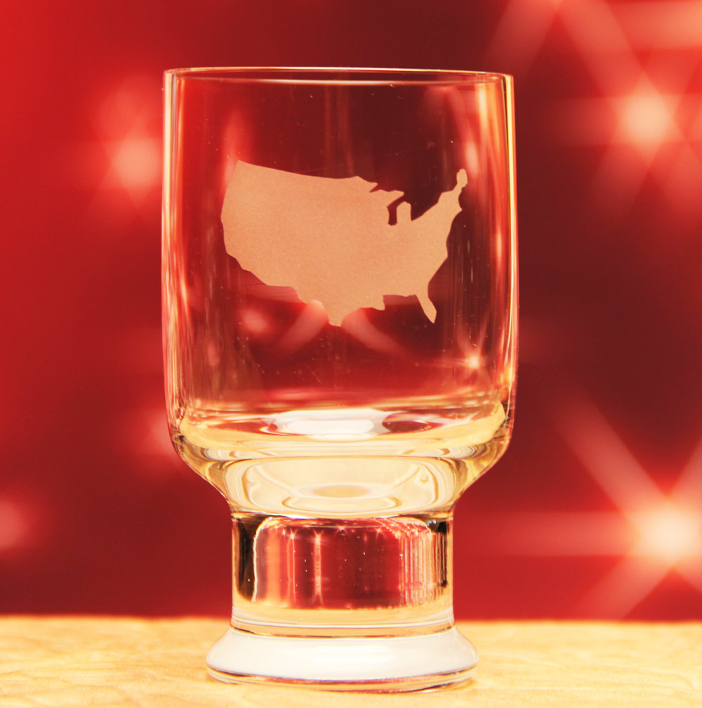 USA Map Glass