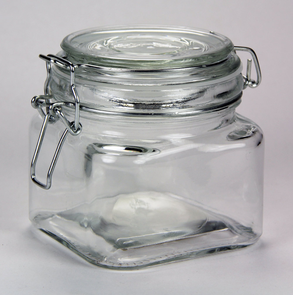 Square Glass Jar with Clasp Lid 20 oz