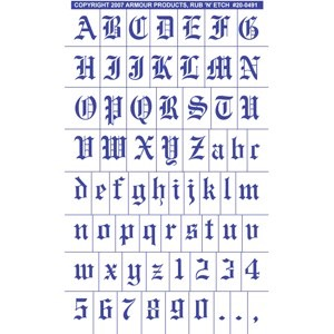 20-0491 - Old English Full Alphabet with numbers