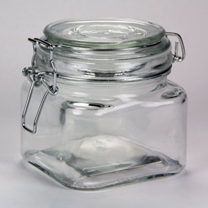 Square Glass Jar with Clasp Lid 20oz